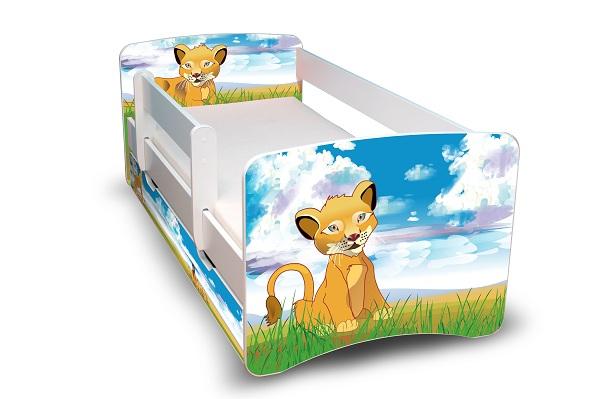 Postel Filip Bílá s bočnicí Lví Král 160x70 Dětská postýlka