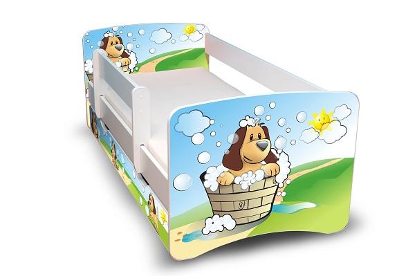 Postel Filip Bílá s bočnicí Pes a bubliny 160x70 Dětská postýlka