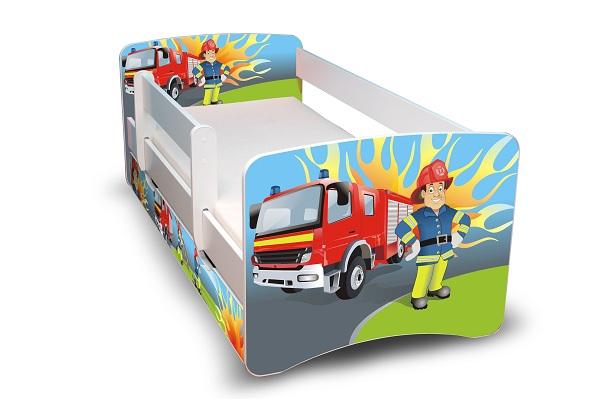 Postel Filip Bílá s bočnicí Požárník 160x70 Dětská postýlka