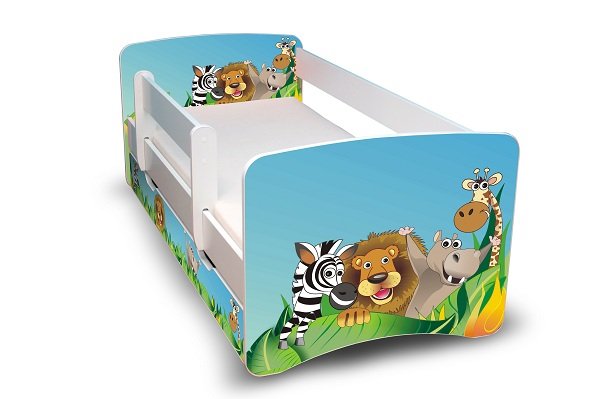 Postel Filip Bílá s bočnicí Madagask 160x70 Dětská postýlka