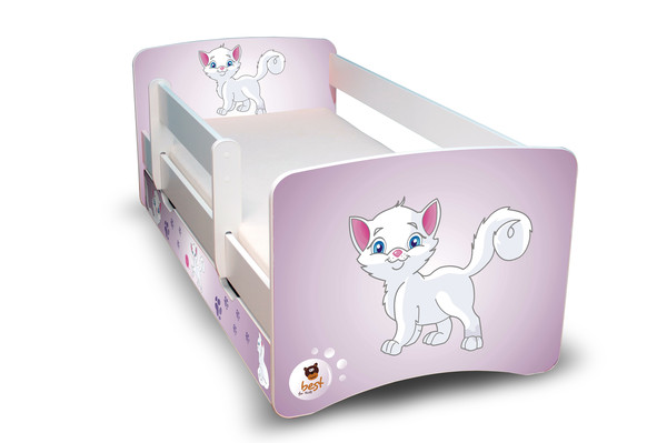 Postel Filip Bílá s bočnicí Kočička 160x70 Dětská postýlka