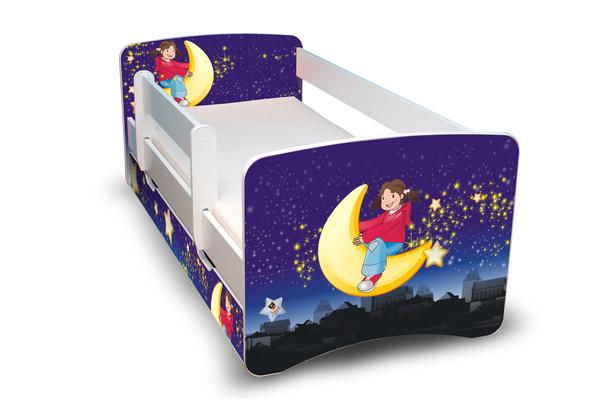 Postel Filip Bílá s bočnicí Měsíc a hvězdy 160x70 Dětská postýlka