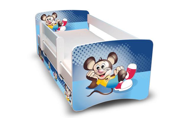 Postel Filip Bílá s bočnicí Myška 160x70 Dětská postel