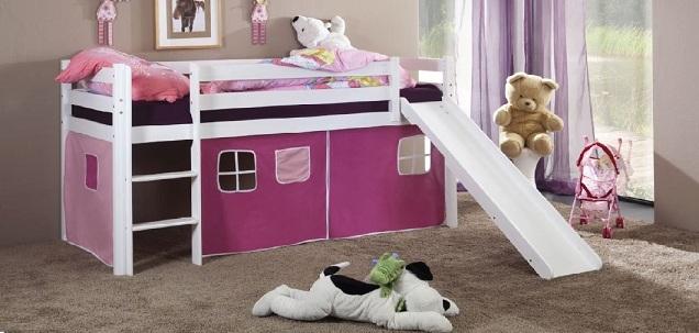 Happy Babies Vyvýšená postel s domečkem a skluzavkou 200x90 Dětská postýlka