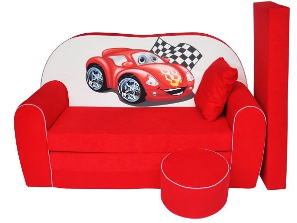 Dětská rozkládací sedačka 160 cm s taburetem Auto Sedačka dětská