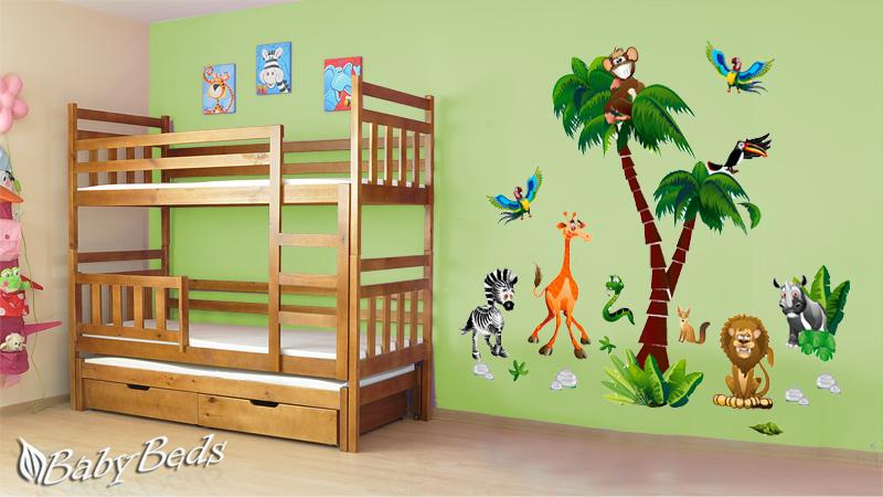 Samolepka Happy Dreams Palma a zvířátka 130x195 cm Samolepky na zeď