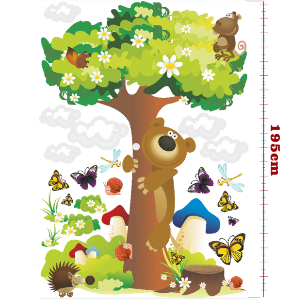 Samolepka Happy Dreams Strom a medvídek 130x195 cm Samolepky na zeď