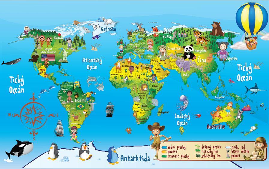 Mapa světa vzor 1 Samolepky na zeď