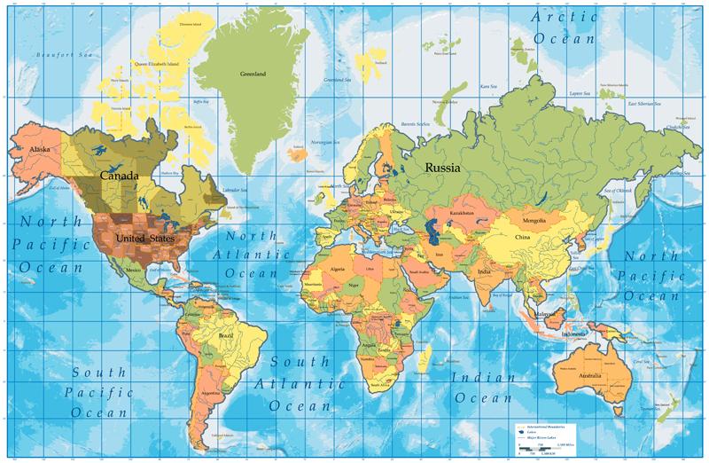 Mapa světa vzor 2 Samolepky na zeď