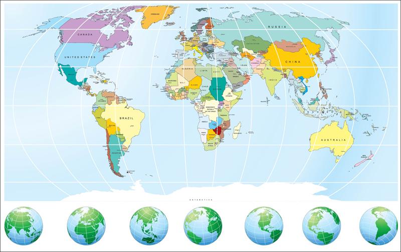 Mapa světa vzor 3 Samolepky na zeď