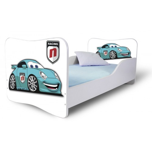 Dětská postel Adam Bílá Auto modrá 140x70 Dětská postel