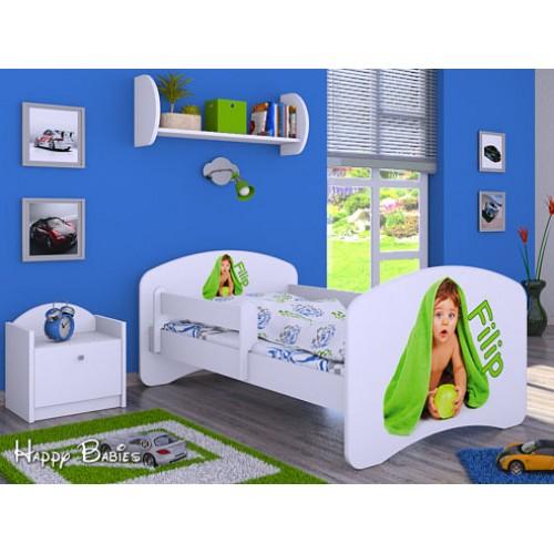 Dětská postel Happy Babies se zábranou Postel Bílá se jménem 140x70 Dětská postel