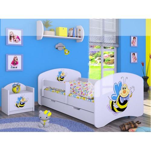 Dětská postel Happy Babies se zábranou Včelka 140x70 Dětská postel