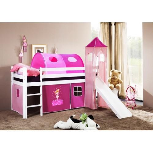 Happy Babies Vyvýšená postel se skluzavkou a domečkem Růžová Princezna 200x90