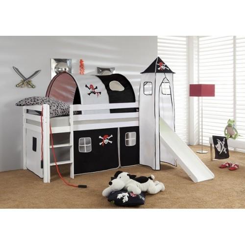 Happy Babies Vyvýšená postel se skluzavkou a domečkem Pirát 200x90