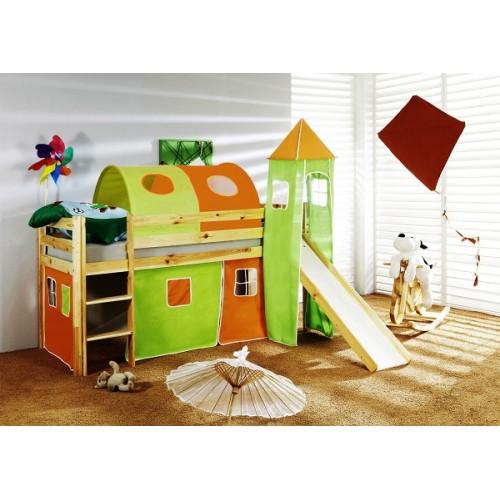 Happy Babies Vyvýšená postel se skluzavkou a domečkem Oranžovozelená 200x90