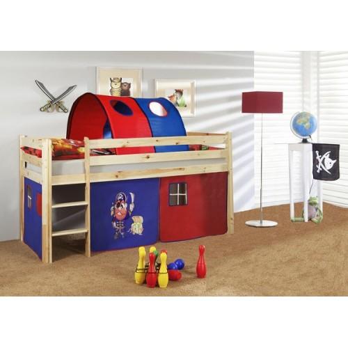 Happy Babies Vyvýšená postel s domečkem přírodní červenomodrá 200x90 Dětská postýlka